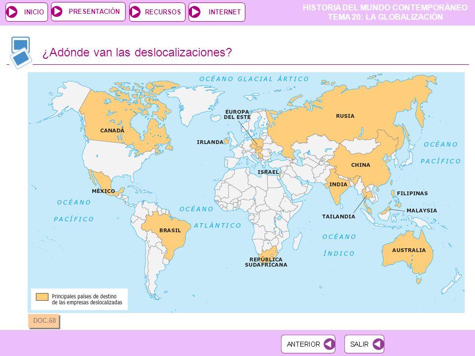 HISTORIA DEL MUNDO CONTEMPORÁNEO TEMA 20: LA GLOBALIZACIÓN RECURSOSINTERNETPRESENTACIÓN INICIO ¿Adónde van las deslocalizaciones.