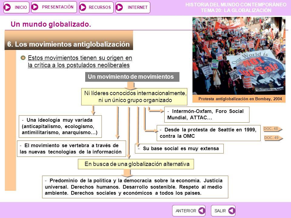 HISTORIA DEL MUNDO CONTEMPORÁNEO TEMA 20: LA GLOBALIZACIÓN RECURSOSINTERNETPRESENTACIÓN INICIO 6.