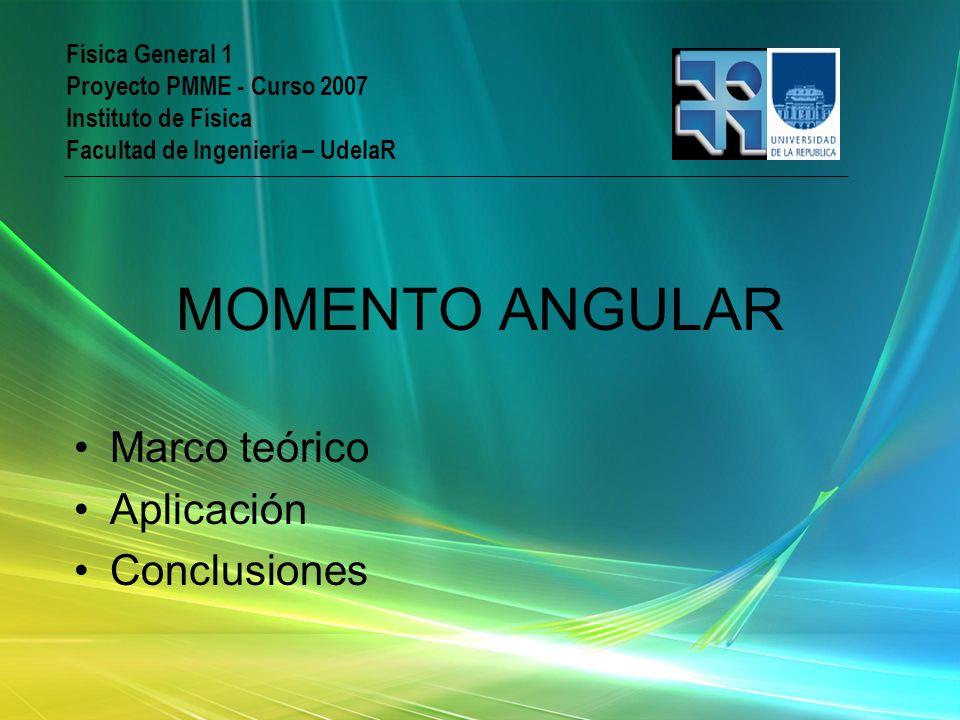 Marco teórico Aplicación Conclusiones Física General 1 Proyecto PMME - Curso 2007 Instituto de Física Facultad de Ingeniería – UdelaR MOMENTO ANGULAR