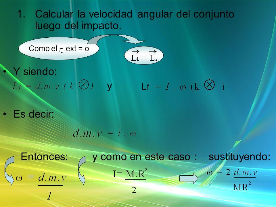 1.Calcular la velocidad angular del conjunto luego del impacto. Y siendo: y Es decir: Entonces: y como en este caso : sustituyendo: Como el ح ext = o