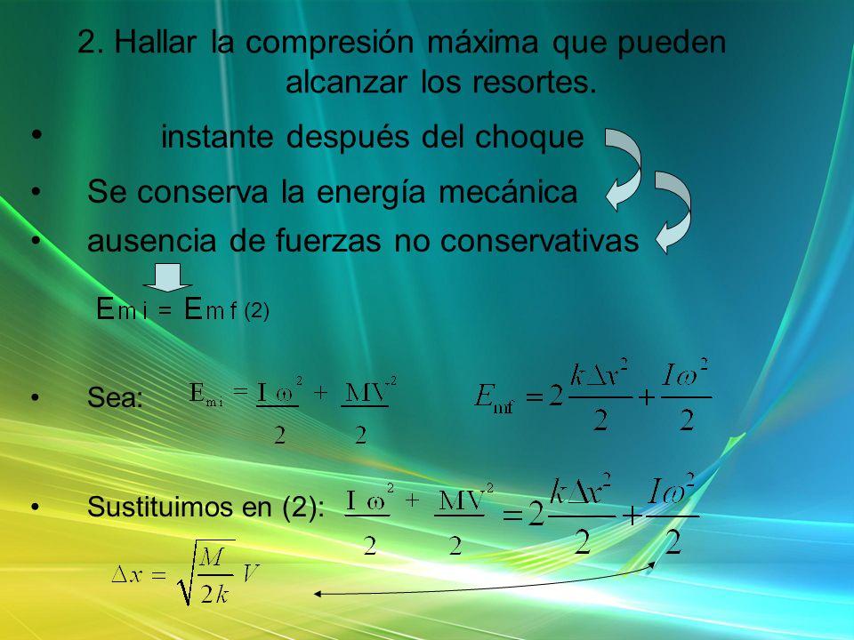 2. Hallar la compresión máxima que pueden alcanzar los resortes. instante después del choque Se conserva la energía mecánica ausencia de fuerzas no co