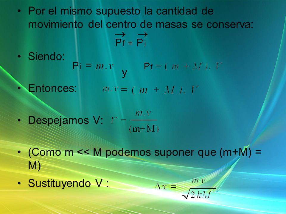 Por el mismo supuesto la cantidad de movimiento del centro de masas se conserva: Siendo: y Entonces: Despejamos V: (Como m << M podemos suponer que (m