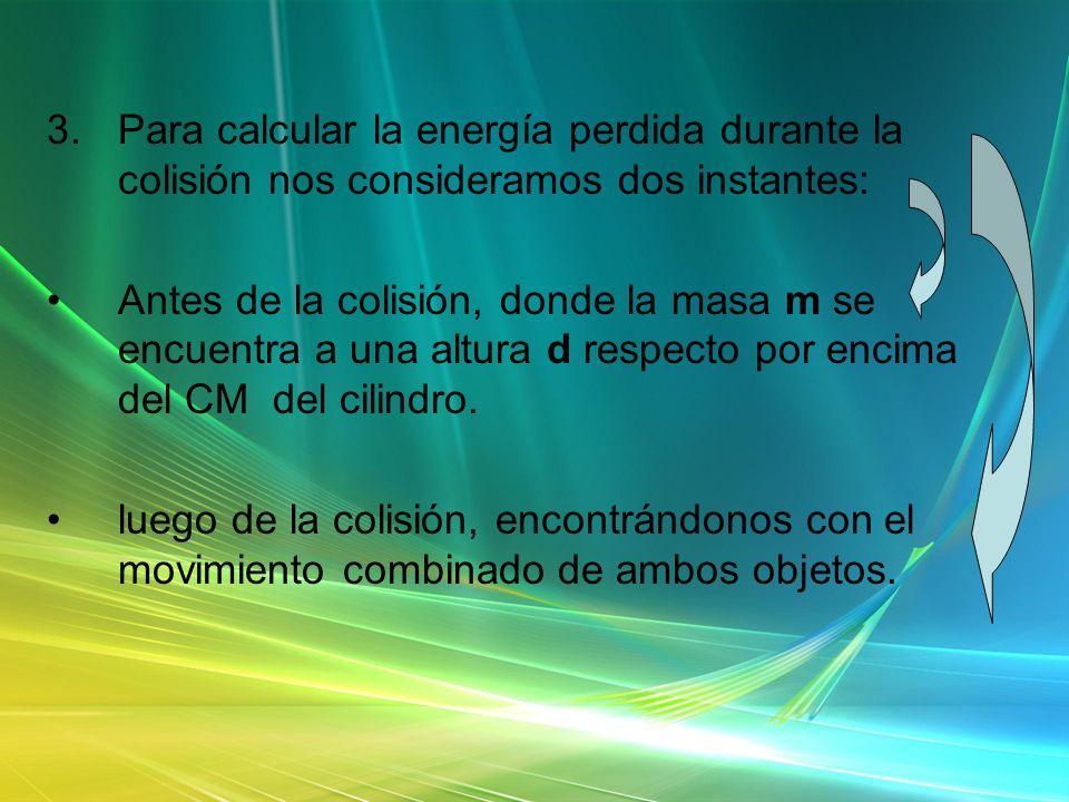 3.Para calcular la energía perdida durante la colisión nos consideramos dos instantes: Antes de la colisión, donde la masa m se encuentra a una altura