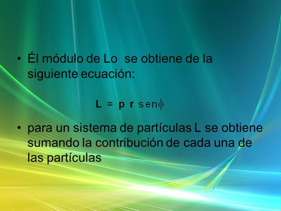 Él módulo de Lo se obtiene de la siguiente ecuación: para un sistema de partículas L se obtiene sumando la contribución de cada una de las partículas