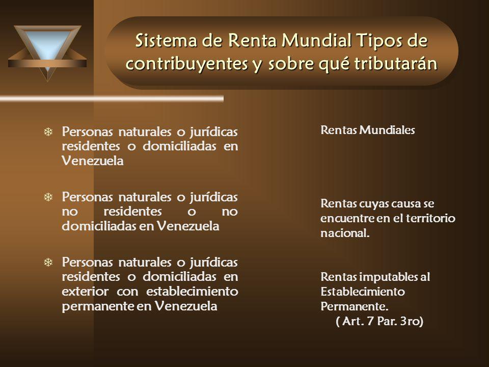 Sistema de Renta Mundial Tipos de contribuyentes y sobre qué tributarán T Personas naturales o jurídicas residentes o domiciliadas en Venezuela T Pers