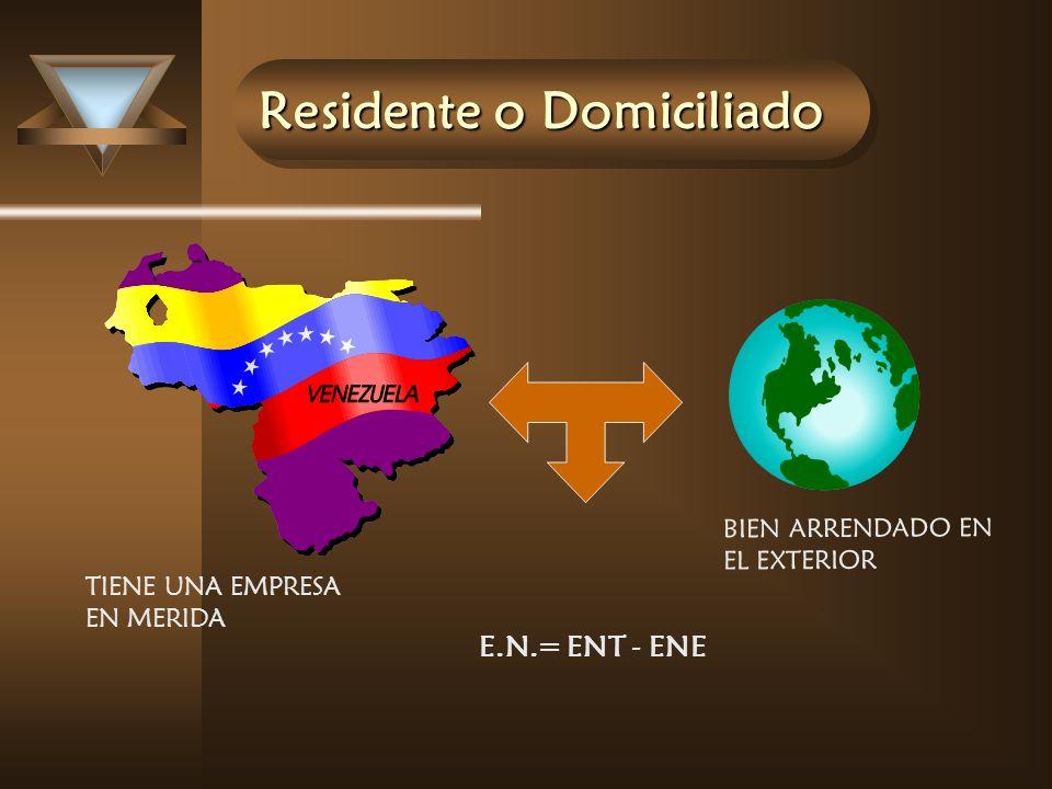 Residente o Domiciliado E.N.= ENT - ENE BIEN ARRENDADO EN EL EXTERIOR TIENE UNA EMPRESA EN MERIDA
