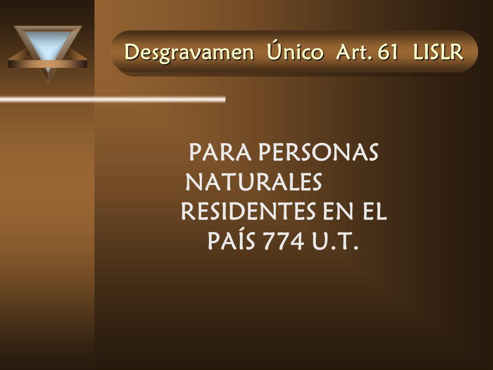 Desgravamen Único Art. 61 LISLR PARA PERSONAS NATURALES RESIDENTES EN EL PAÍS 774 U.T.