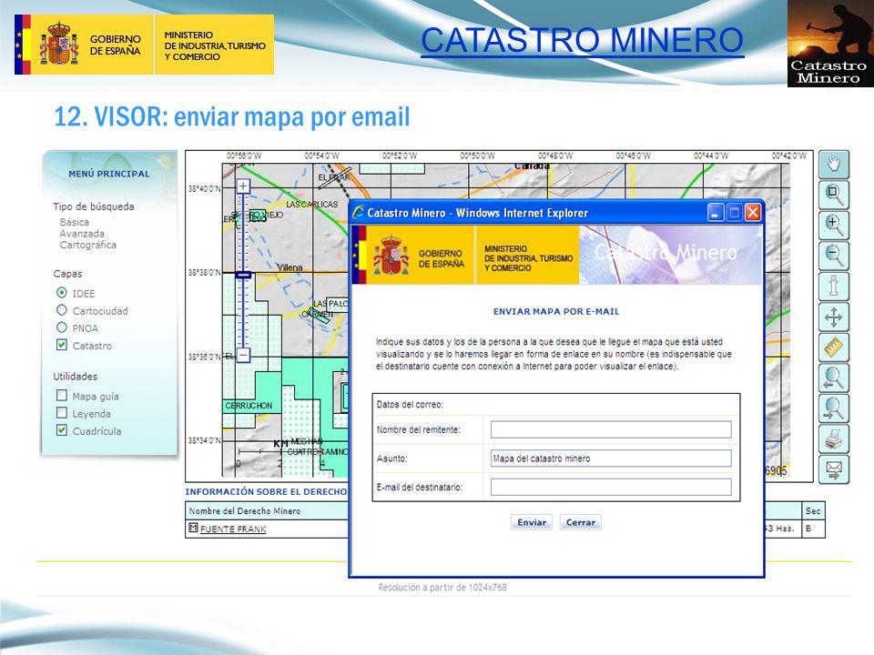 CATASTRO MINERO 12. VISOR: enviar mapa por email