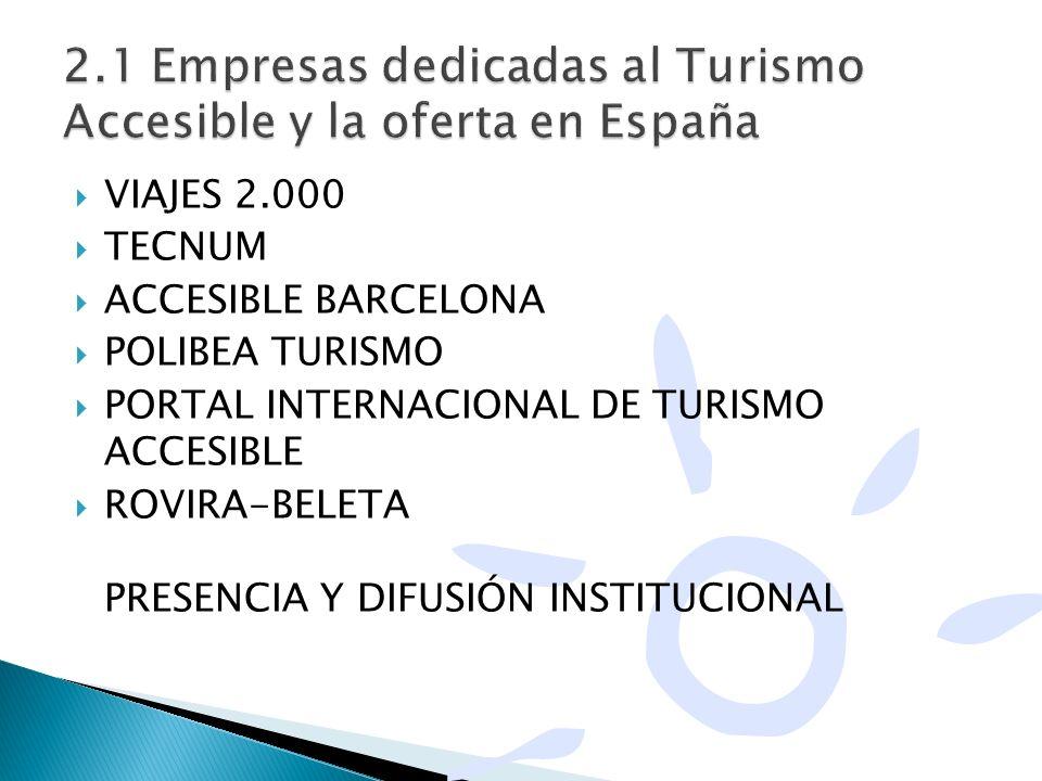 VIAJES 2.000 TECNUM ACCESIBLE BARCELONA POLIBEA TURISMO PORTAL INTERNACIONAL DE TURISMO ACCESIBLE ROVIRA-BELETA PRESENCIA Y DIFUSIÓN INSTITUCIONAL