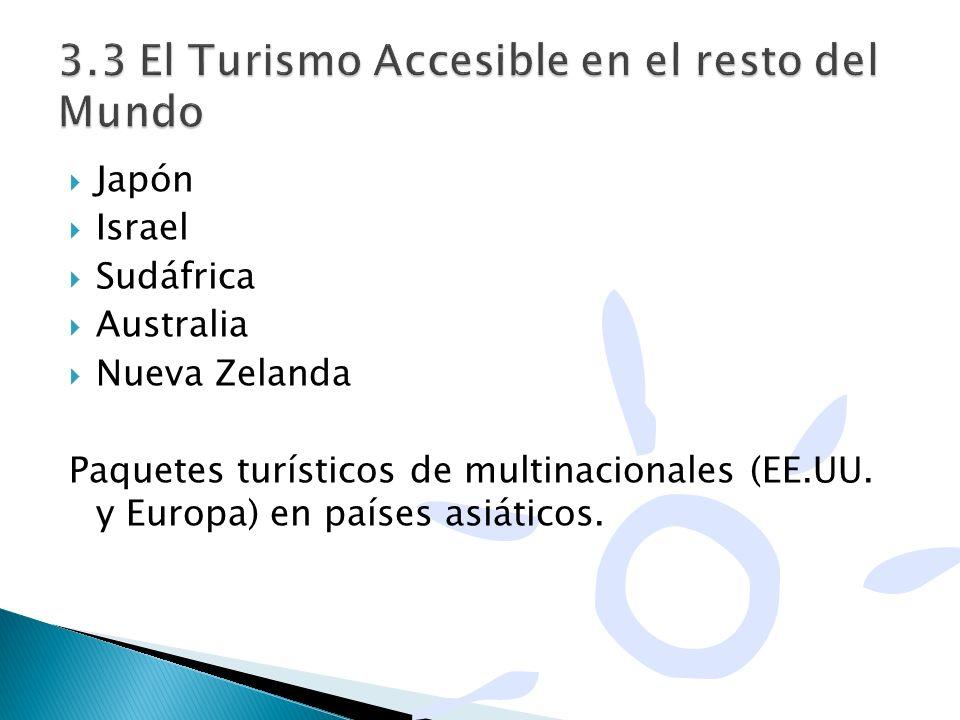 Japón Israel Sudáfrica Australia Nueva Zelanda Paquetes turísticos de multinacionales (EE.UU. y Europa) en países asiáticos.