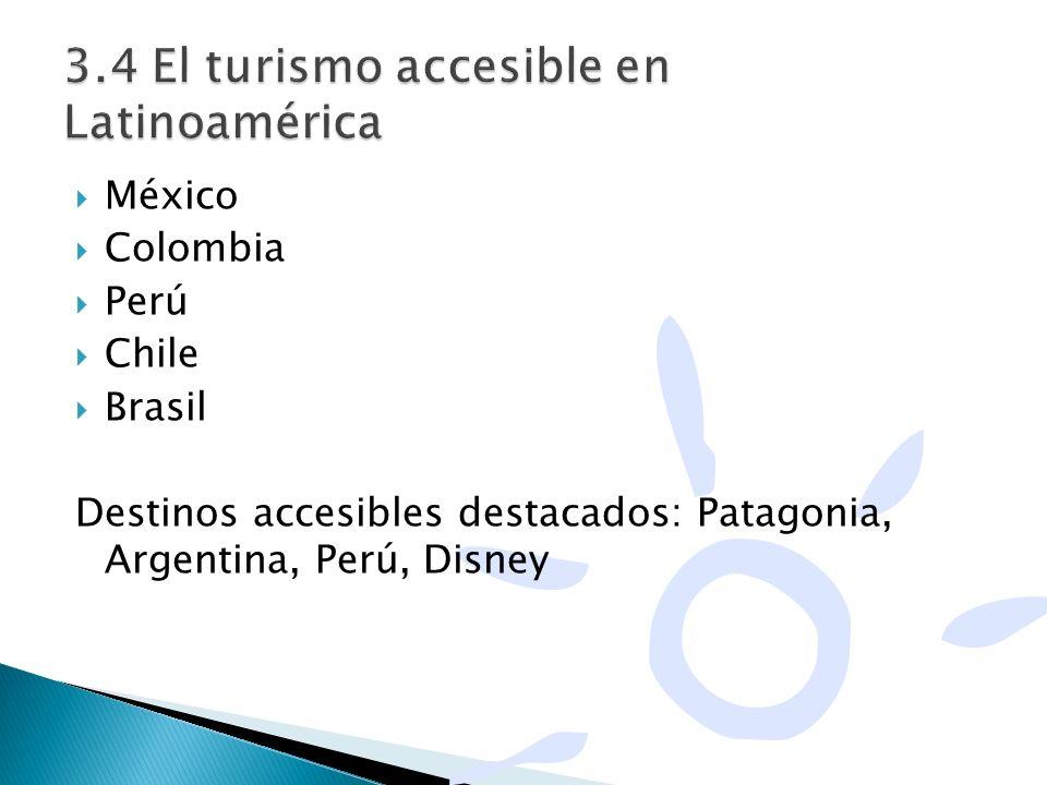México Colombia Perú Chile Brasil Destinos accesibles destacados: Patagonia, Argentina, Perú, Disney