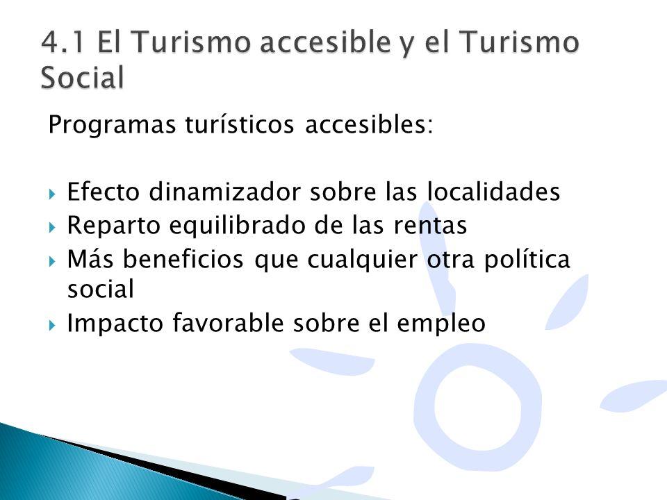 Programas turísticos accesibles: Efecto dinamizador sobre las localidades Reparto equilibrado de las rentas Más beneficios que cualquier otra política