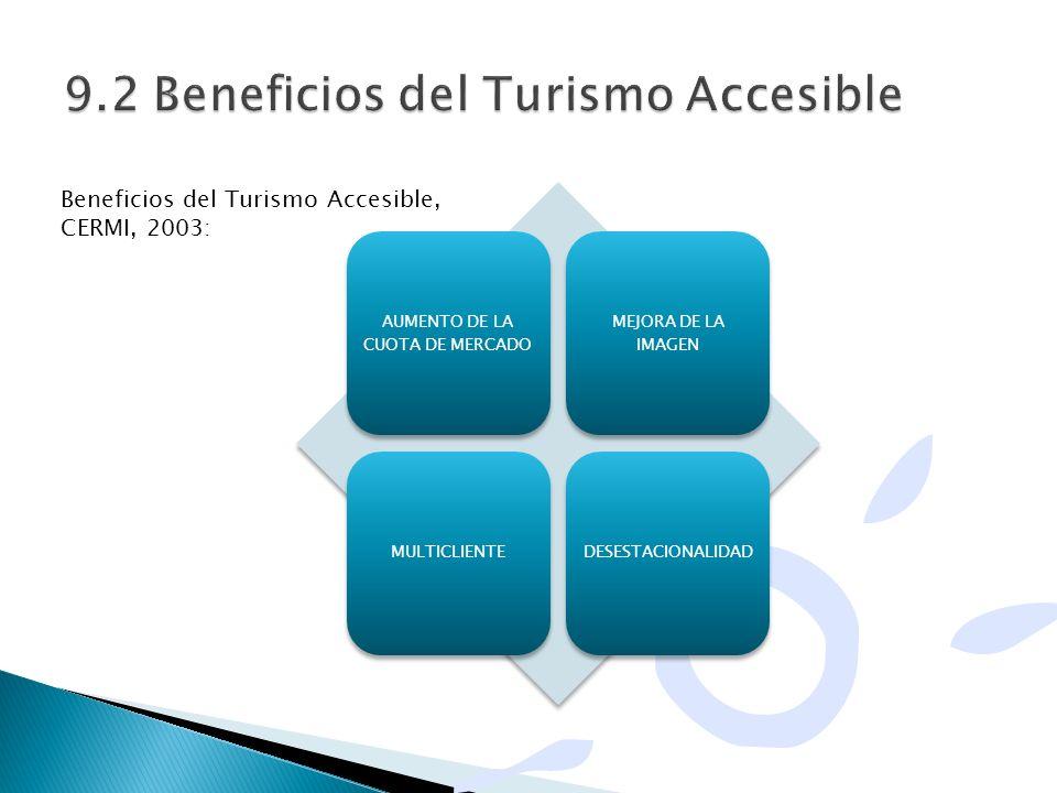 AUMENTO DE LA CUOTA DE MERCADO MEJORA DE LA IMAGEN MULTICLIENTEDESESTACIONALIDAD Beneficios del Turismo Accesible, CERMI, 2003: