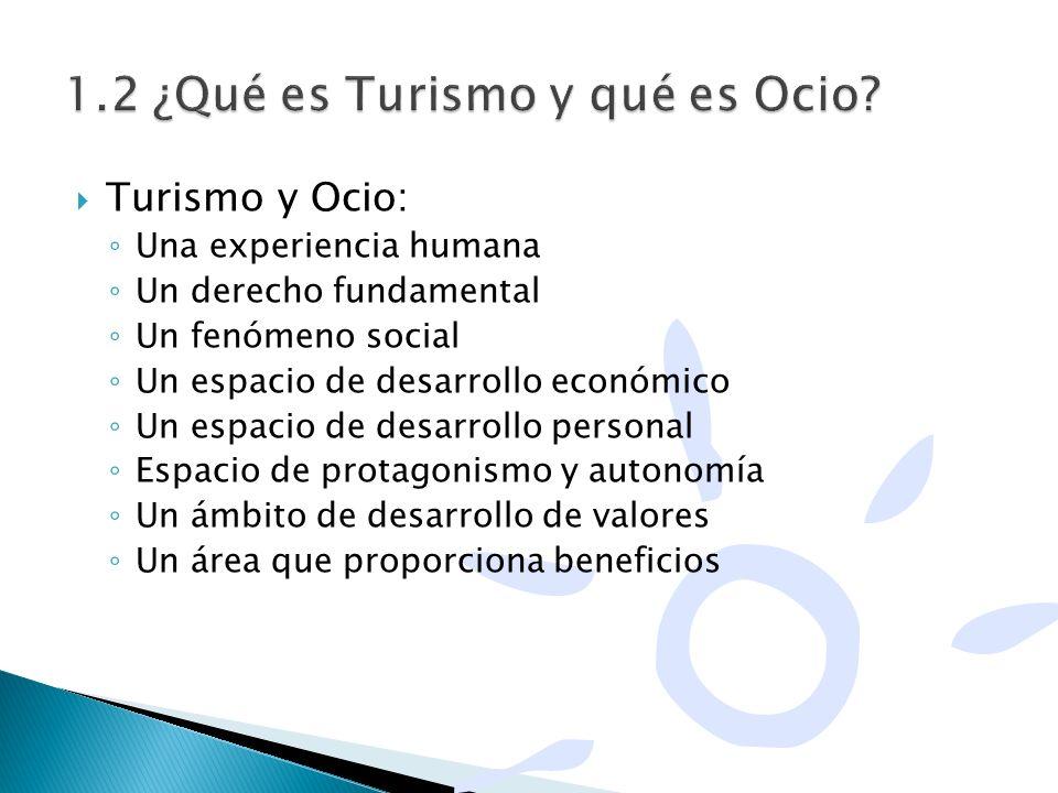Turismo y Ocio: Una experiencia humana Un derecho fundamental Un fenómeno social Un espacio de desarrollo económico Un espacio de desarrollo personal