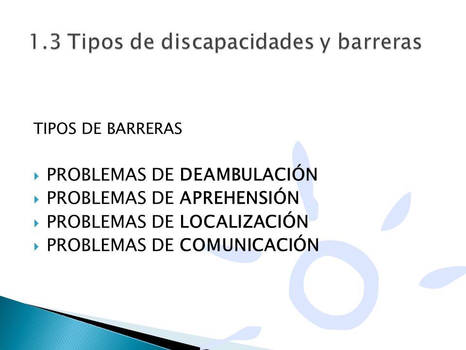 TIPOS DE BARRERAS PROBLEMAS DE DEAMBULACIÓN PROBLEMAS DE APREHENSIÓN PROBLEMAS DE LOCALIZACIÓN PROBLEMAS DE COMUNICACIÓN
