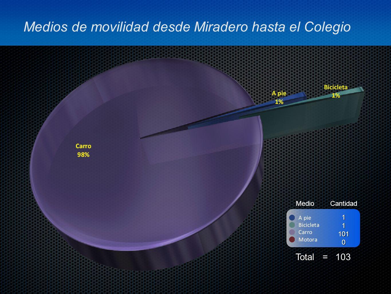 Medios de movilidad desde Miradero hasta el Colegio MedioCantidad Total = 103 111010