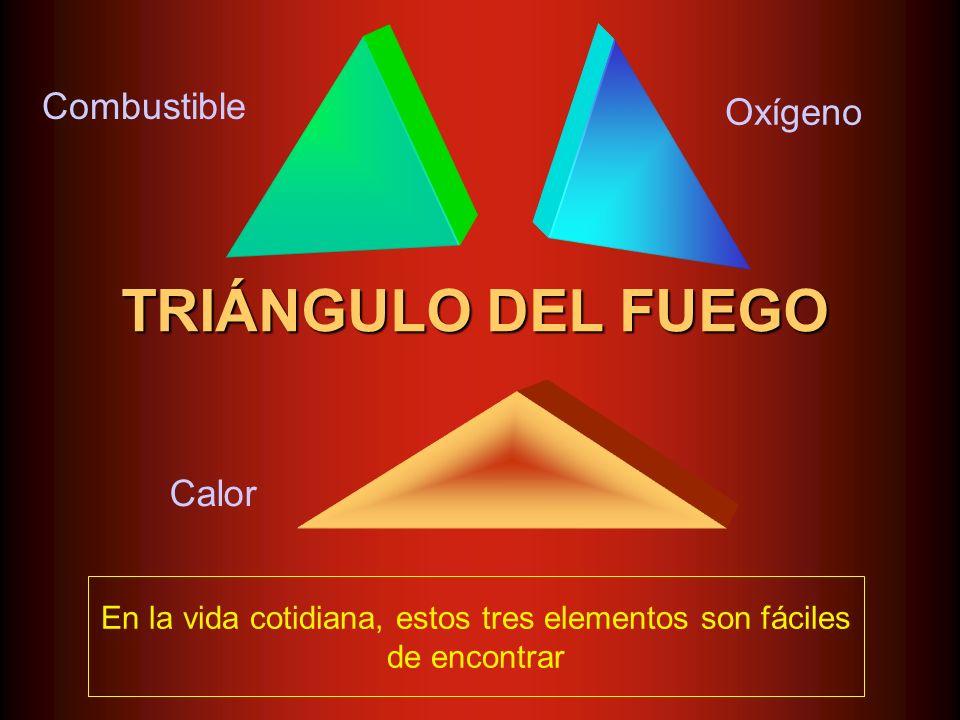 TRIÁNGULO DEL FUEGO Combustible Oxígeno Calor En la vida cotidiana, estos tres elementos son fáciles de encontrar