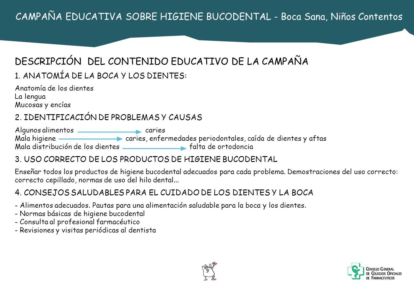 9 CAMPAÑA EDUCATIVA SOBRE HIGIENE BUCODENTAL - Boca Sana, Niños Contentos DESCRIPCIÓN DEL CONTENIDO EDUCATIVO DE LA CAMPAÑA 1. ANATOMÍA DE LA BOCA Y L
