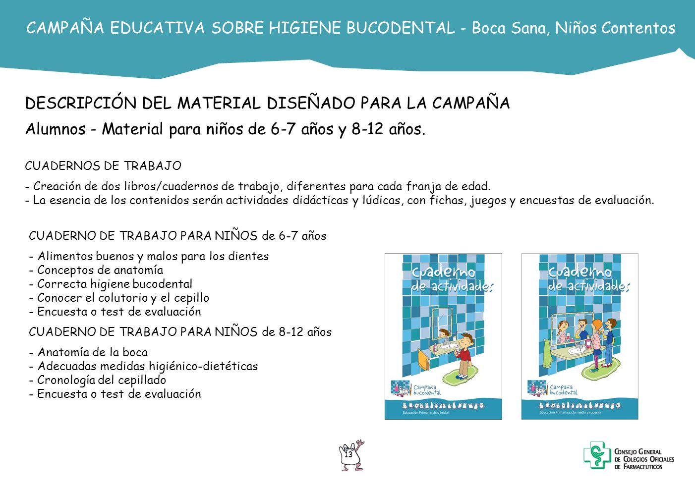 13 CAMPAÑA EDUCATIVA SOBRE HIGIENE BUCODENTAL - Boca Sana, Niños Contentos DESCRIPCIÓN DEL MATERIAL DISEÑADO PARA LA CAMPAÑA Alumnos - Material para n