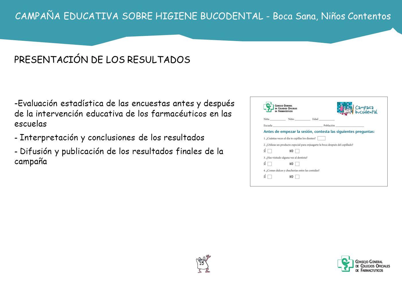 15 CAMPAÑA EDUCATIVA SOBRE HIGIENE BUCODENTAL - Boca Sana, Niños Contentos PRESENTACIÓN DE LOS RESULTADOS -Evaluación estadística de las encuestas ant