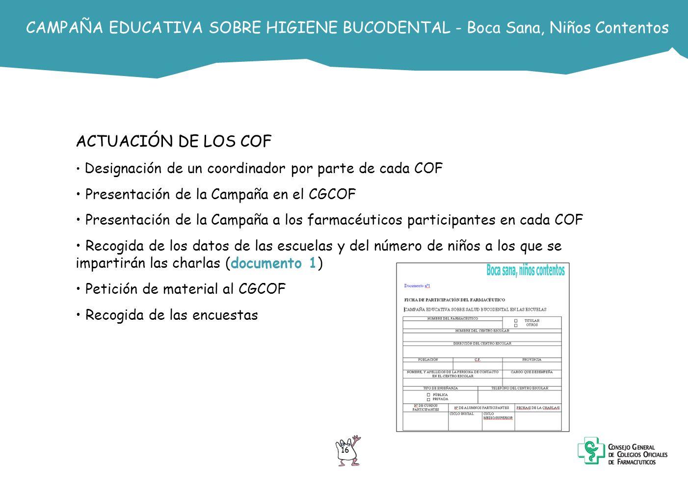 CAMPAÑA EDUCATIVA SOBRE HIGIENE BUCODENTAL - Boca Sana, Niños Contentos ACTUACIÓN DE LOS COF Designación de un coordinador por parte de cada COF Prese