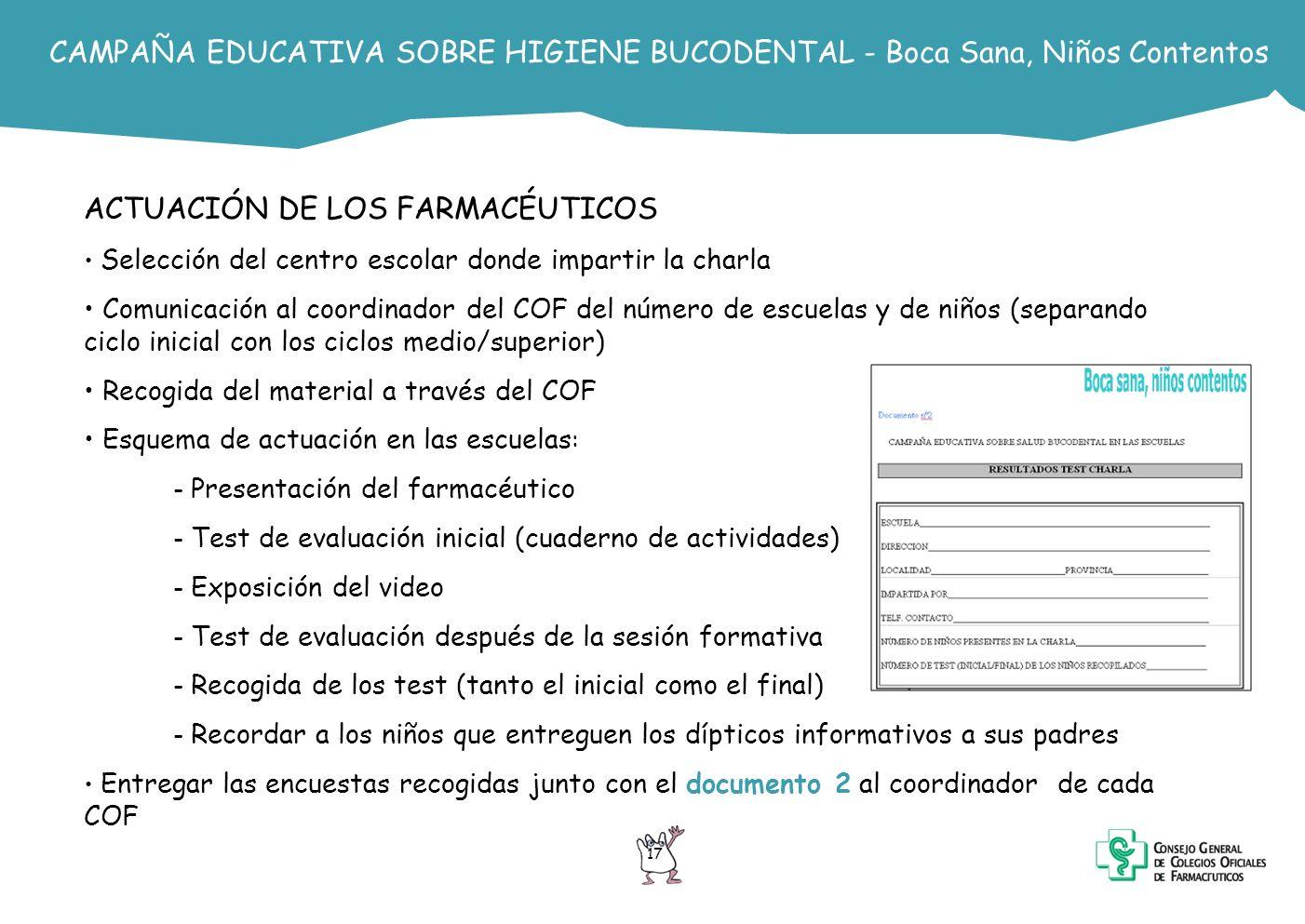CAMPAÑA EDUCATIVA SOBRE HIGIENE BUCODENTAL - Boca Sana, Niños Contentos ACTUACIÓN DE LOS FARMACÉUTICOS Selección del centro escolar donde impartir la