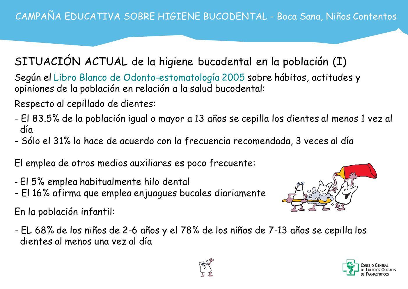 CAMPAÑA EDUCATIVA SOBRE HIGIENE BUCODENTAL - Boca Sana, Niños Contentos 4 SITUACIÓN ACTUAL de la higiene bucodental en la población (II) Según la Fundación Dental Española, en el año 2001 la máxima incidencia de caries se da en la infancia: - Afecta a la mitad de los niños de 5 años - A más del 90% de los adolescentes de 15 años de edad Junto a la caries dental, la enfermedad periodontal es una de las patologías de la boca más habituales.