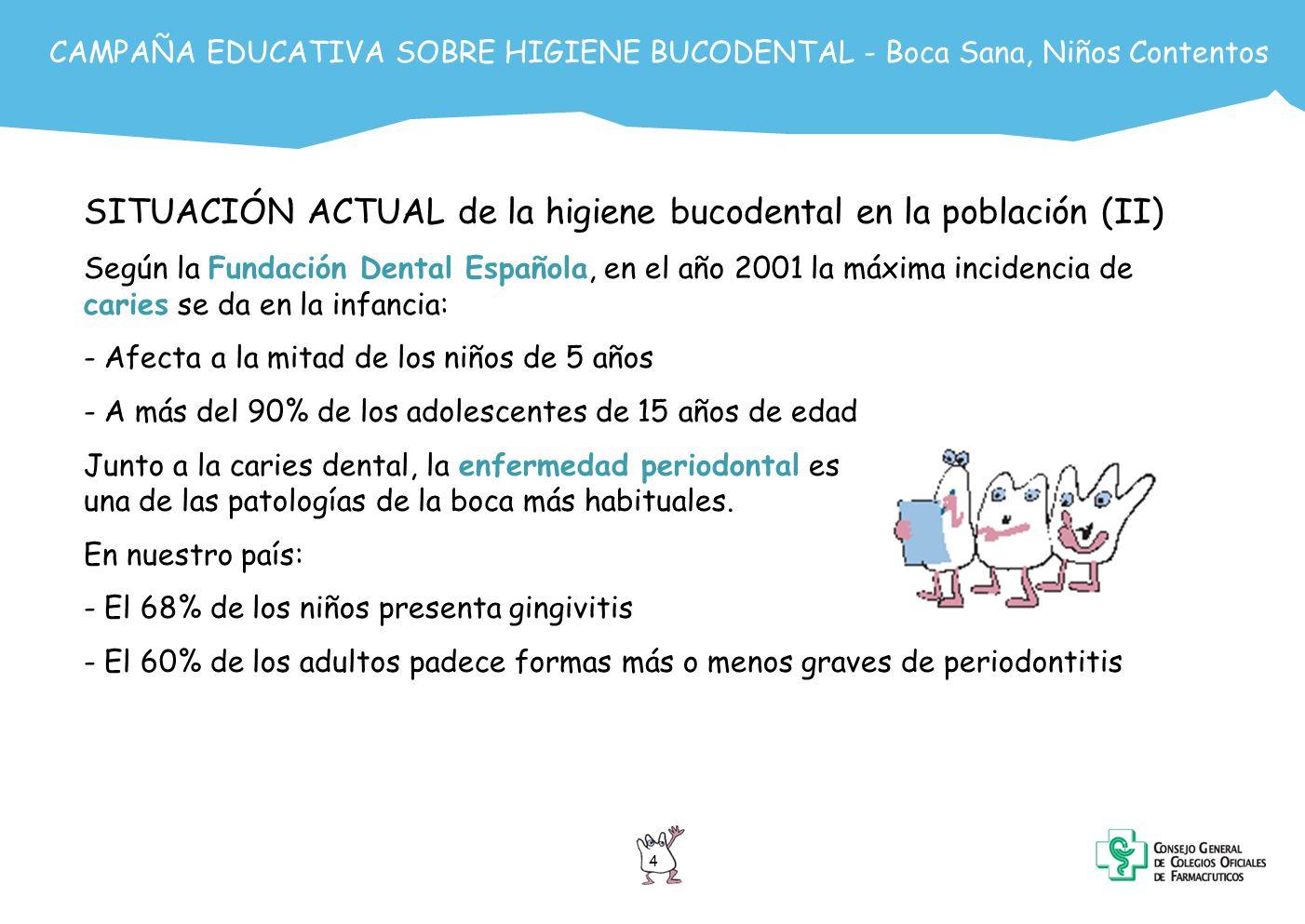 5 CAMPAÑA EDUCATIVA SOBRE HIGIENE BUCODENTAL - Boca Sana, Niños Contentos SITUACIÓN ACTUAL de la higiene bucodental en la población (III) Según la Encuesta Nacional de Salud 1997, la población adulta no presenta una actitud muy preventiva en los temas de salud bucodental: En la población adulta: - Sólo el 16% de la población igual o mayor a 16 años ha acudido a los servicios odontológicos en el último trimestre - El 28% de los anteriores lo hizo para revisión o chequeo y el resto para tratamiento de enfermedades dentales ya establecidas - El tiempo medio desde la última visita al odontólogo es de 4 años En la población infantil: - El 22% del grupo de 0-15 años ha acudido al odontólogo en los últimos 3 meses - El tiempo medio desde la ultima consulta es de 16 meses - El motivo principal de la consulta es revisión o chequeo