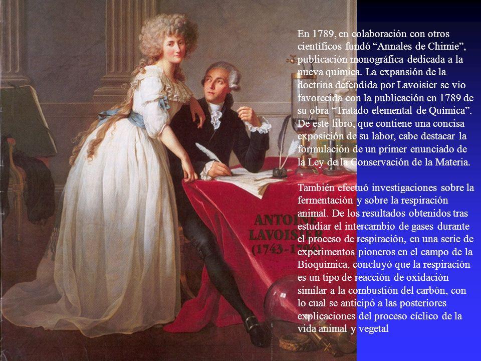 En 1789, en colaboración con otros científicos fundó Annales de Chimie, publicación monográfica dedicada a la nueva química. La expansión de la doctri