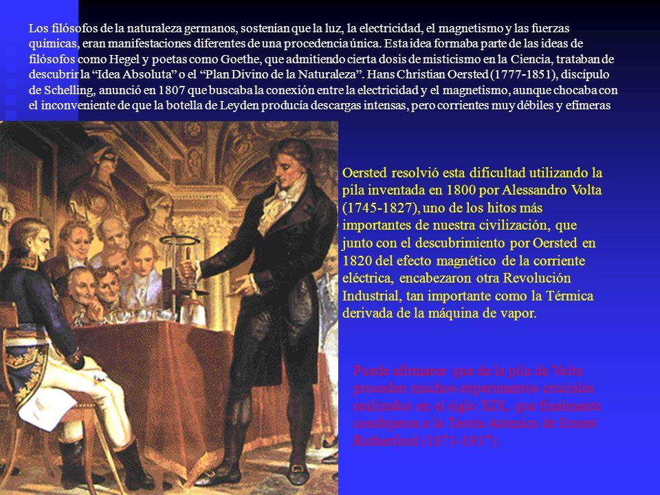 Los filósofos de la naturaleza germanos, sostenían que la luz, la electricidad, el magnetismo y las fuerzas químicas, eran manifestaciones diferentes