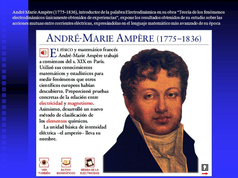 André Marie Ampère (1775-1836), introductor de la palabra Electrodinámica en su obra Teoría de los fenómenos electrodinámicos únicamente obtenidos de