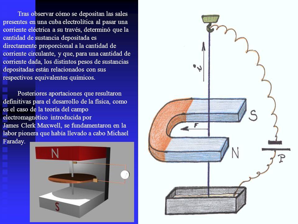 Tras observar cómo se depositan las sales presentes en una cuba electrolítica al pasar una corriente eléctrica a su través, determinó que la cantidad