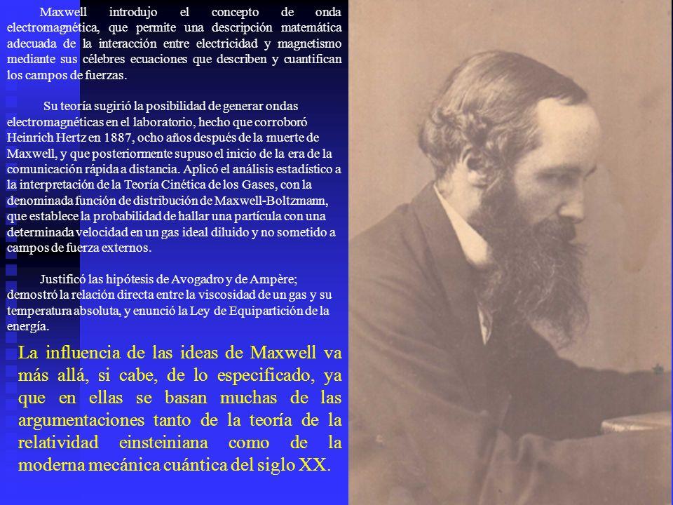 Maxwell introdujo el concepto de onda electromagnética, que permite una descripción matemática adecuada de la interacción entre electricidad y magneti