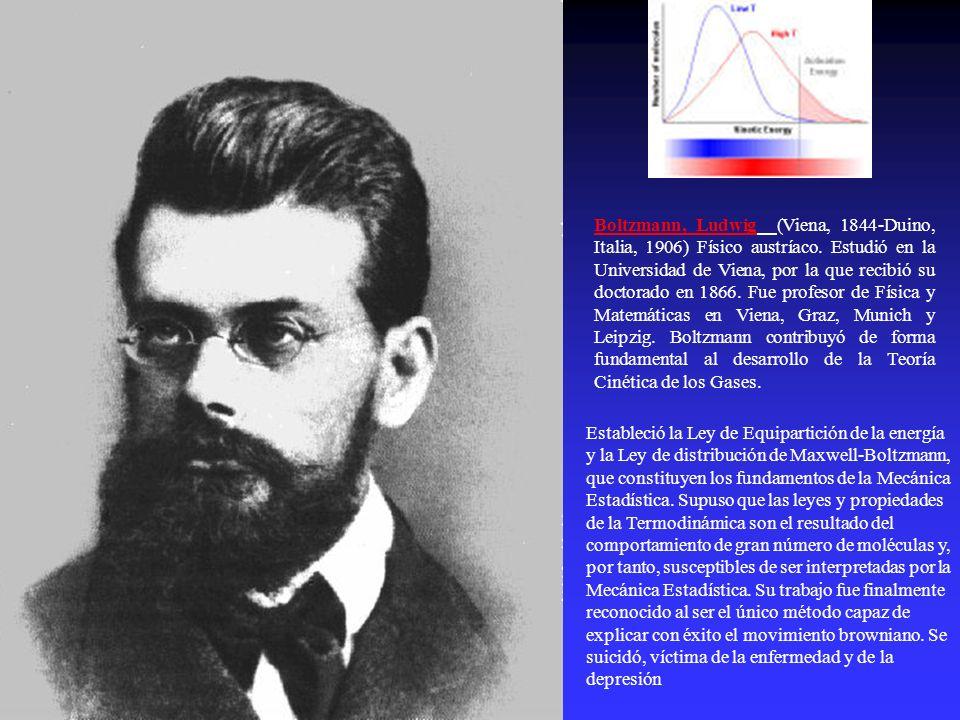 Boltzmann, Ludwig (Viena, 1844-Duino, Italia, 1906) Físico austríaco. Estudió en la Universidad de Viena, por la que recibió su doctorado en 1866. Fue