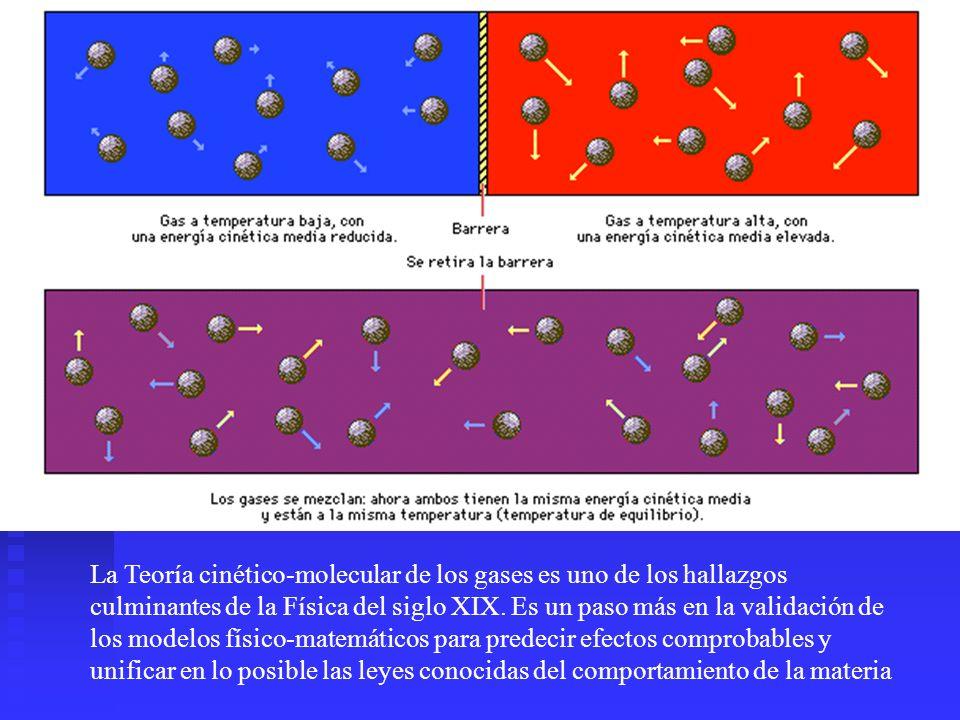 La Teoría cinético-molecular de los gases es uno de los hallazgos culminantes de la Física del siglo XIX. Es un paso más en la validación de los model