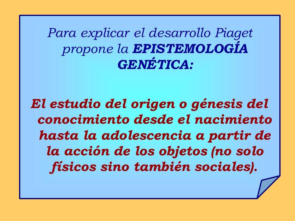 Para explicar el desarrollo Piaget propone la EPISTEMOLOGÍA GENÉTICA: El estudio del origen o génesis del conocimiento desde el nacimiento hasta la adolescencia a partir de la acción de los objetos (no solo físicos sino también sociales).