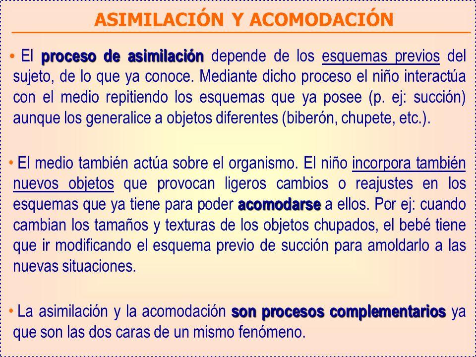 ASIMILACIÓN Y ACOMODACIÓN proceso de asimilación El proceso de asimilación depende de los esquemas previos del sujeto, de lo que ya conoce.