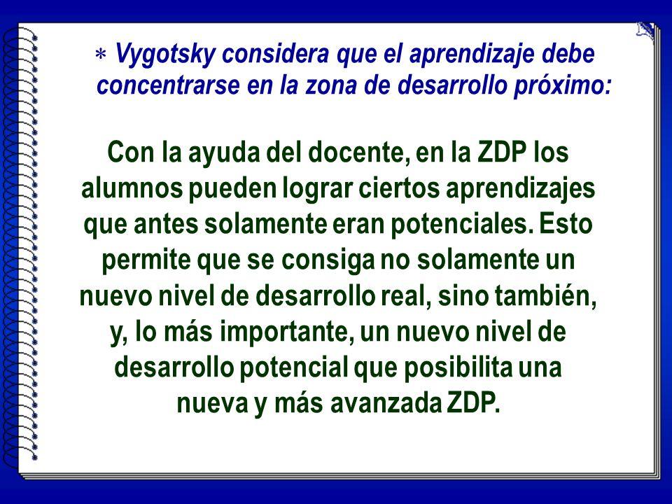 V ygotsky considera que el aprendizaje debe concentrarse en la zona de desarrollo próximo: Con la ayuda del docente, en la ZDP los alumnos pueden lograr ciertos aprendizajes que antes solamente eran potenciales.
