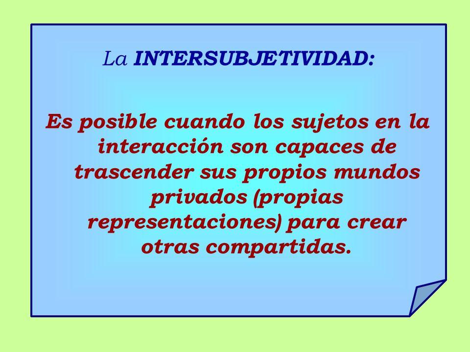 La INTERSUBJETIVIDAD: Es posible cuando los sujetos en la interacción son capaces de trascender sus propios mundos privados (propias representaciones) para crear otras compartidas.
