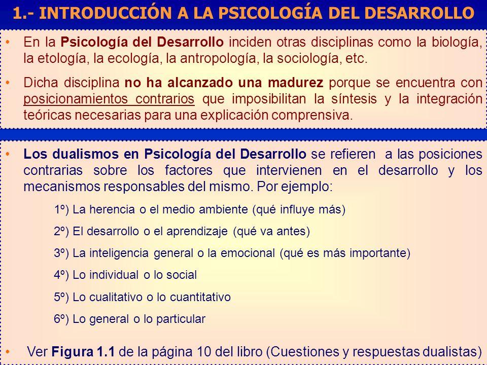 En la Psicología del Desarrollo inciden otras disciplinas como la biología, la etología, la ecología, la antropología, la sociología, etc.