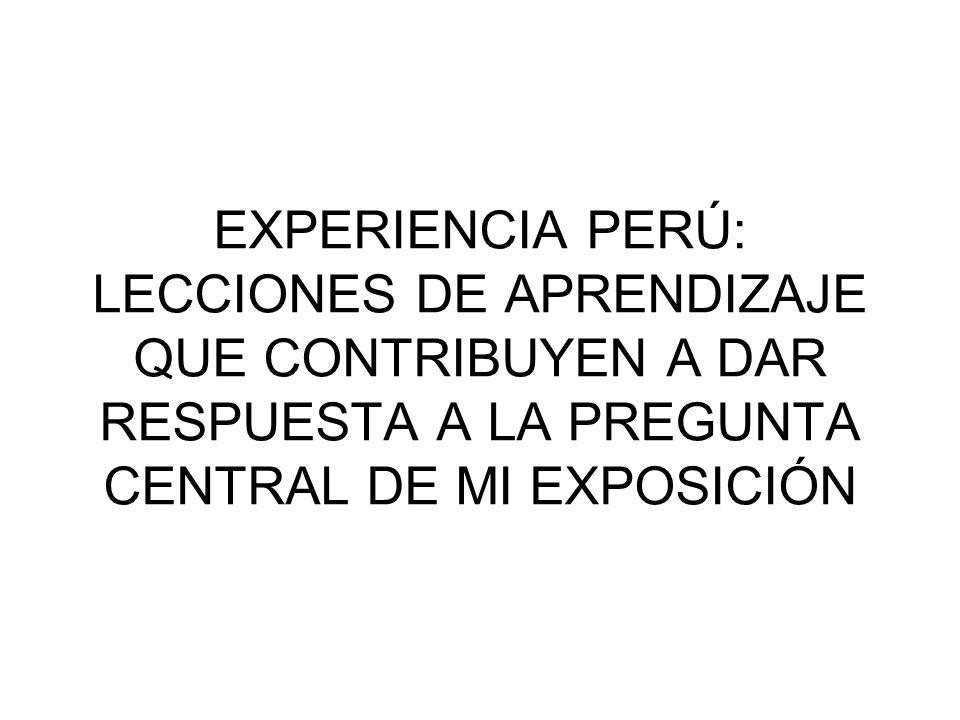 EXPERIENCIA PERÚ: LECCIONES DE APRENDIZAJE QUE CONTRIBUYEN A DAR RESPUESTA A LA PREGUNTA CENTRAL DE MI EXPOSICIÓN