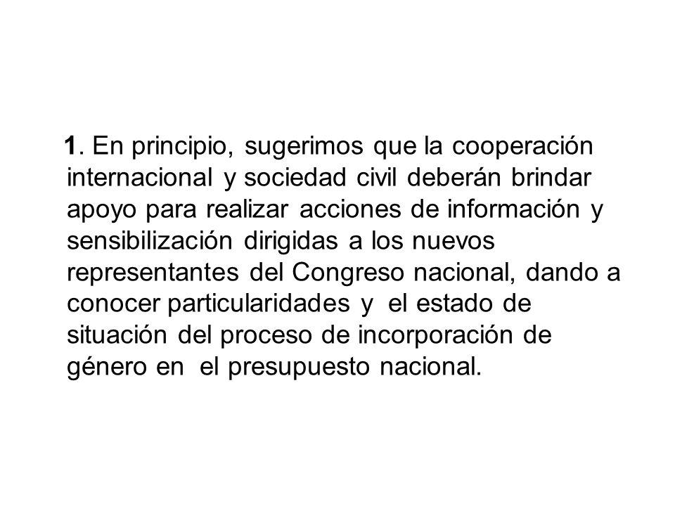 1. En principio, sugerimos que la cooperación internacional y sociedad civil deberán brindar apoyo para realizar acciones de información y sensibiliza