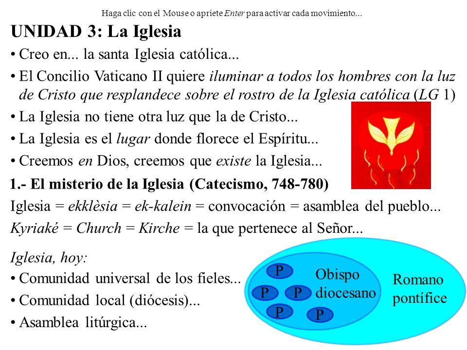 1.- El misterio de la Iglesia (Catecismo, 748-780) Haga clic con el Mouse o apriete Enter para activar cada movimiento... UNIDAD 3: La Iglesia Creo en