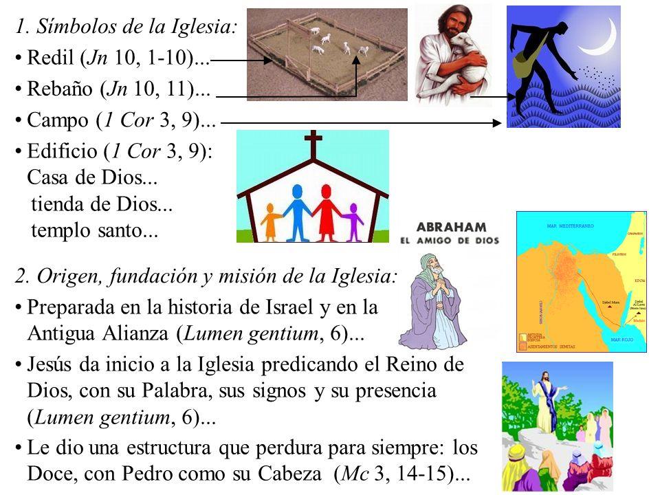 1. Símbolos de la Iglesia: Redil (Jn 10, 1-10)... Rebaño (Jn 10, 11)... Campo (1 Cor 3, 9)... Edificio (1 Cor 3, 9): Casa de Dios... tienda de Dios...
