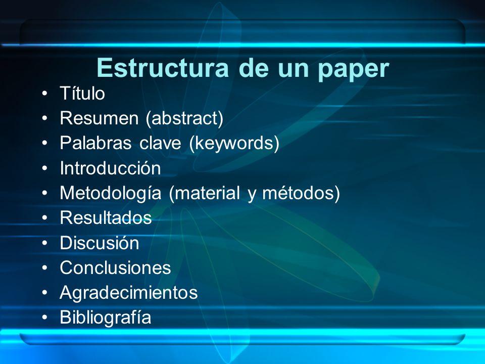 Estructura de un paper Título Resumen (abstract) Palabras clave (keywords) Introducción Metodología (material y métodos) Resultados Discusión Conclusi