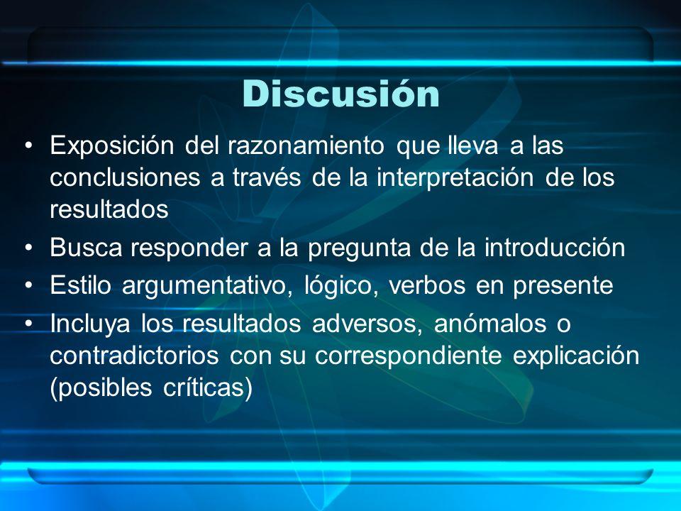 Discusión Exposición del razonamiento que lleva a las conclusiones a través de la interpretación de los resultados Busca responder a la pregunta de la