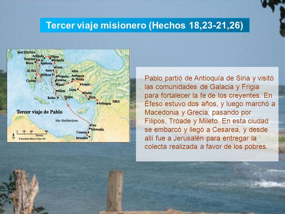 Segundo viaje misionero (Hch 15,36-18,22) Pablo y Silas salieron de Antioquía de Siria y se dirigieron por tierra a Siria y Cilicia para consolidar la