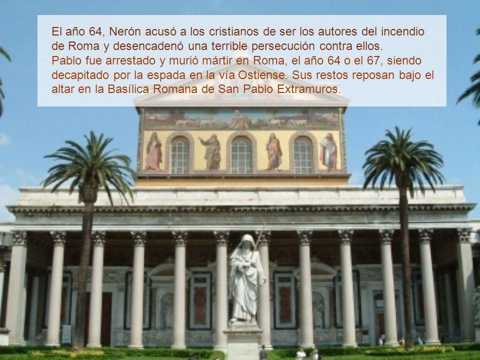 Después de un accidentado viaje, Pablo llegó a Roma en el año 61. Allí, en espera del juicio, permaneció dos años con libertad vigilada. Vivía en una