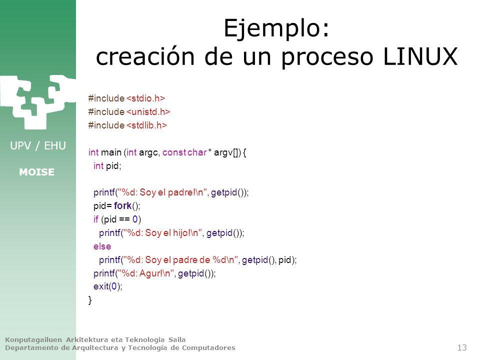 UPV / EHU MOISE Ejemplo: creación de un proceso LINUX #include int main (int argc, const char * argv[]) { int pid; printf(