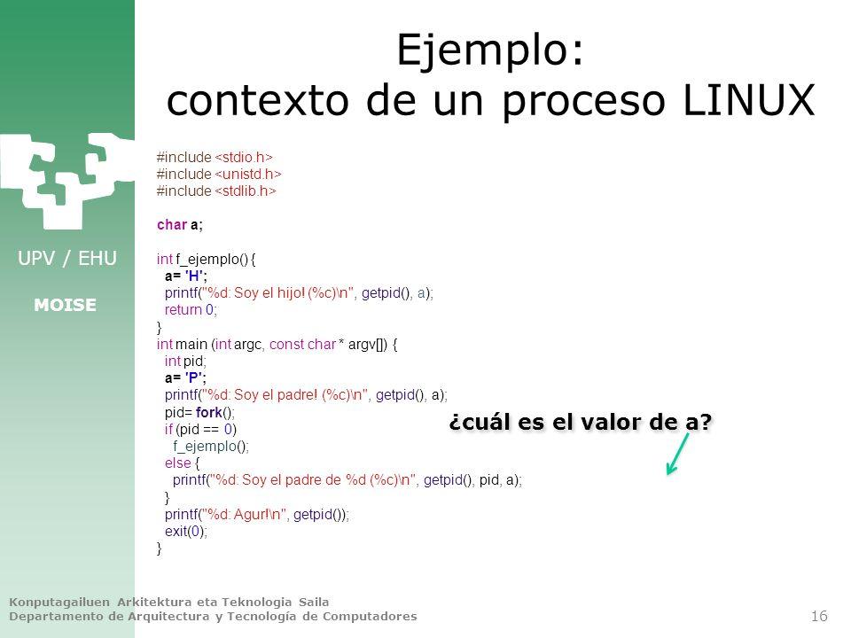 UPV / EHU MOISE Ejemplo: contexto de un proceso LINUX #include char a; int f_ejemplo() { a= 'H'; printf(